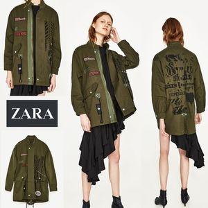 ZARA Womens ROCK & Roll Punk Parka Jacket * NWT